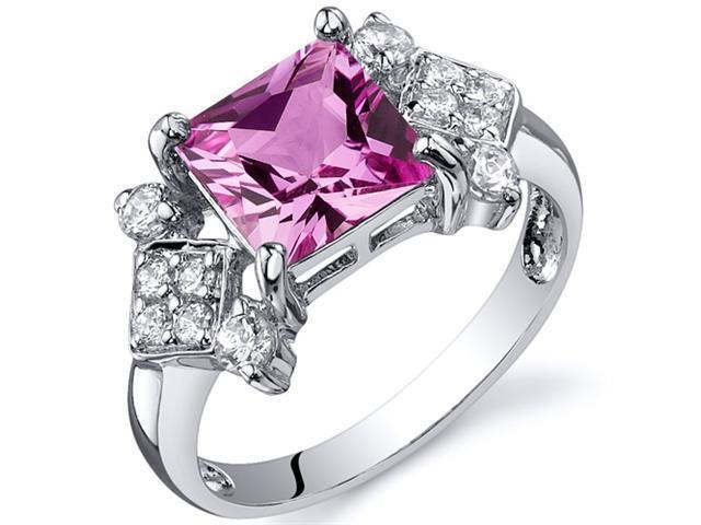 Princess Cut 2.25 carats Pink Sapphire CZ Diamond Ring in Sterling Silver Size  9, Available in Sizes 5 thru 9