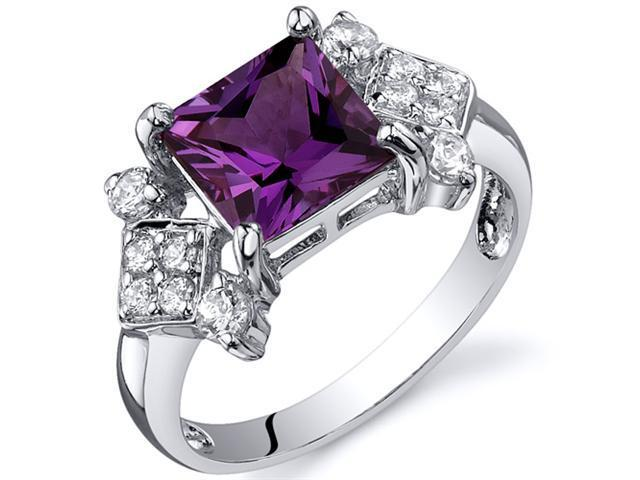 Princess Cut 2.25 carats Alexandrite CZ Diamond Ring in Sterling Silver Size  5, Available in Sizes 5 thru 9