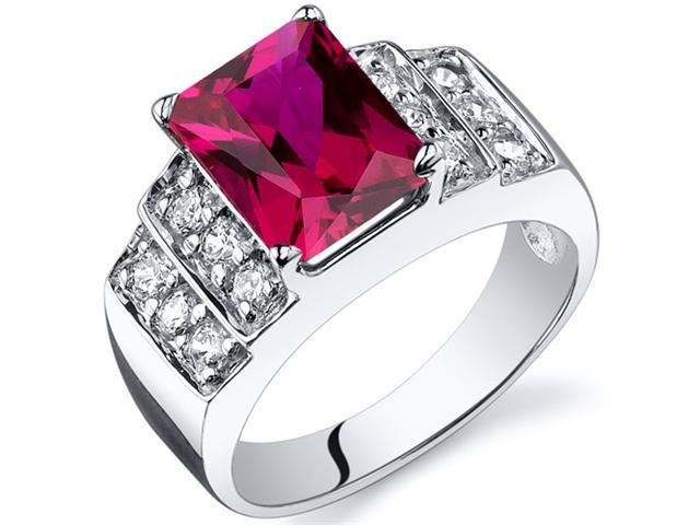 Radiant Cut 3.00 carats Ruby CZ Diamond Ring in Sterling Silver Size  6, Available in Sizes 5 thru 9