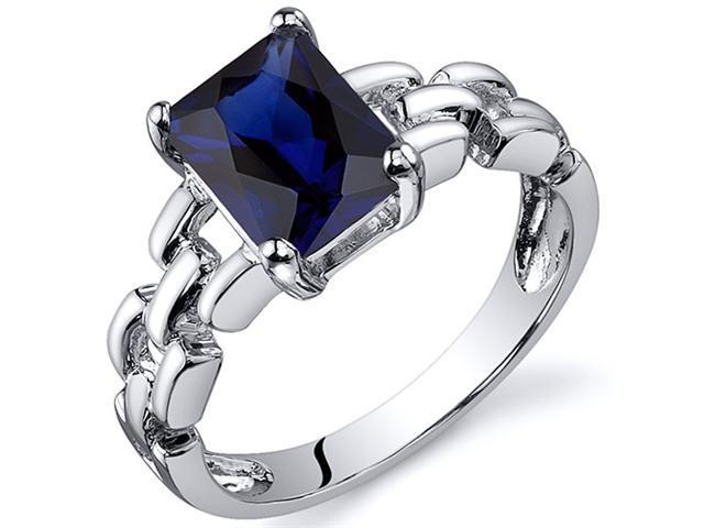 Chain Link Design 2.00 carats Blue Sapphire Engagement Ring in Sterling Silver Size  6, Available in Sizes 5 thru 9