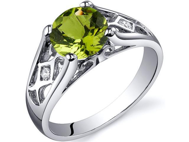 Cathedral Design 1.25 carats Peridot Solitaire Ring in Sterling Silver Size 7