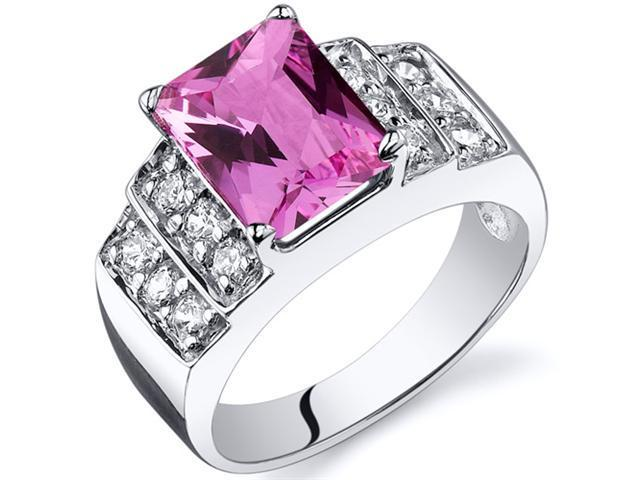 Radiant Cut 3.00 carats Pink Sapphire CZ Diamond Ring in Sterling Silver Size  8, Available in Sizes 5 thru 9