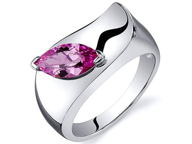 Musuem Style Marquise Cut 1.25 carats Pink Sapphire Ring in Sterling Silver Size  5, Available in Sizes 5 thru 9