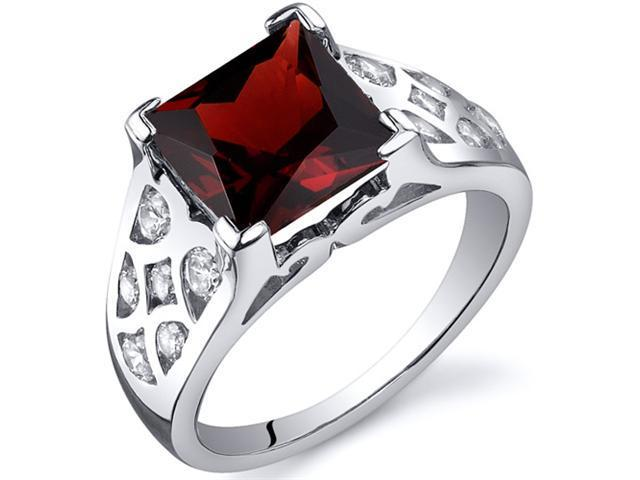 V Prong Princess Cut 3.00 carats Garnet CZ Diamond Ring in Sterling Silver Size  5, Available in Sizes 5 thru 9