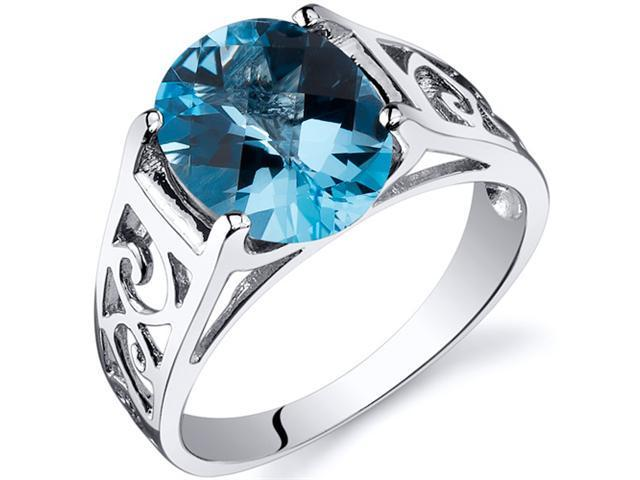 Checkerboard Cut 2.75 carats Swiss Blue Topaz Solitiare Ring in Sterling Silver Size  6, Available in Sizes 5 thru 9