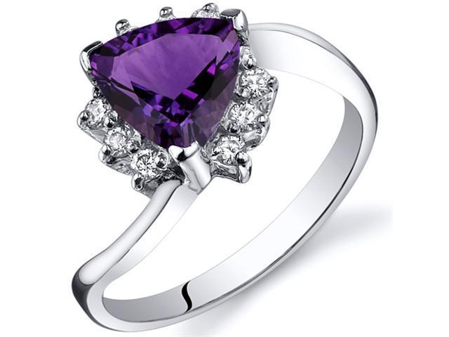 Trillion Cut 1.00 carats Amethyst Bypass Ring in Sterling Silver Size  8, Available in Sizes 5 thru 9