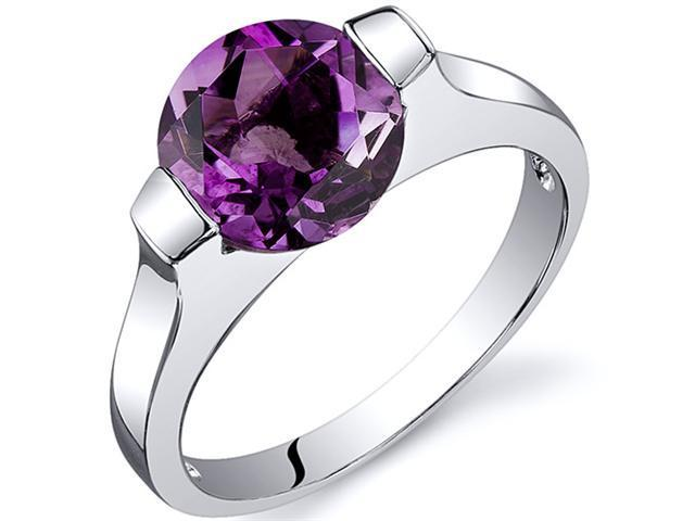 Bezel Set 1.75 carats Amethyst Engagement Ring in Sterling Silver Size  7, Available in Sizes 5 thru 9