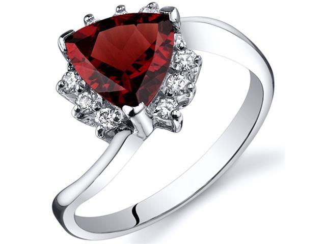 Trillion Cut 1.50 carats Garnet Bypass Ring in Sterling Silver Size  8, Available in Sizes 5 thru 9