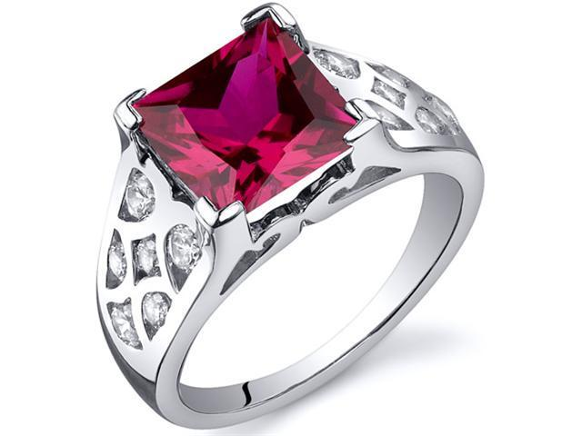 V Prong Princess Cut 3.25 carats Ruby CZ Diamond Ring in Sterling Silver Size  5, Available in Sizes 5 thru 9