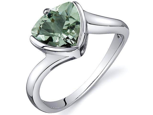 Trillion Cut Bypass Style 1.50 carats Green Amethyst Ring in Sterling Silver Size  9, Available in Sizes 5 thru 9