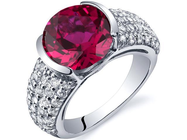 Bezel Set Large 5.00 Carats Ruby Ring in Sterling Silver Size 5