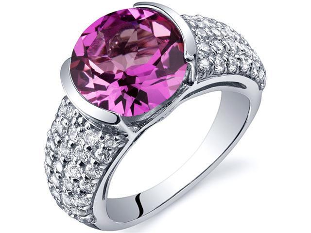 Bezel Set Large 5.00 Carats Pink Sapphire Ring in Sterling Silver Size 5
