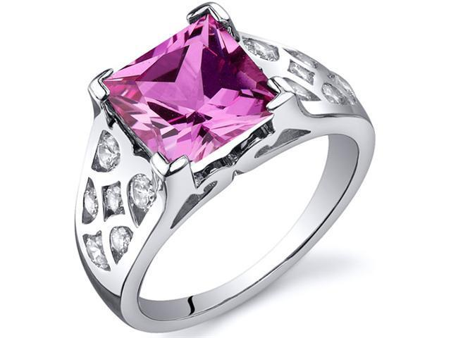 V Prong Princess Cut 3.25 carats Pink Sapphire CZ Diamond Ring in Sterling Silver Size  8, Available in Sizes 5 thru 9