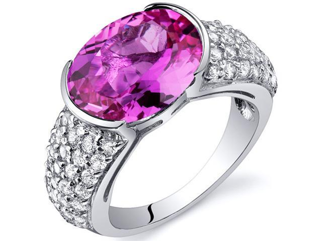 Opulent Sophistication 6.25 Carats Pink Sapphire Ring in Sterling Silver Size 8