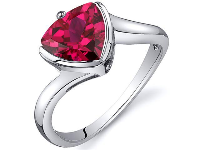 Trillion Cut Bypass Style 2.50 carats Ruby Ring in Sterling Silver Size  6, Available in Sizes 5 thru 9