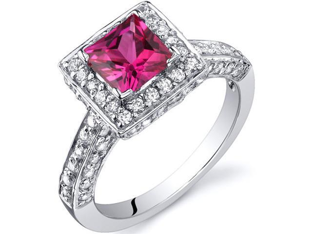 Princess Cut 1.00 Carats Ruby Engagement Ring in Sterling Silver Size 5