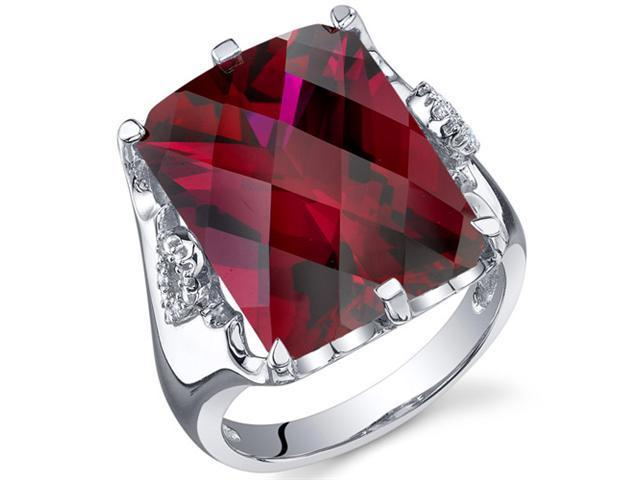 Royal Marvel 16.00 Carats Radiant Cut Ruby Ring in Sterling Silver Size 8, Available Sizes 5 to 9