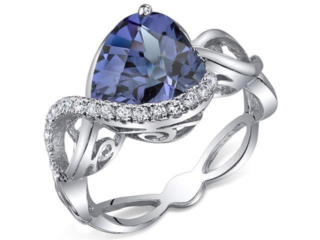 Swirl Design 4.00 Carats Heart Shape Alexandrite Ring in Sterling Silver Size 7, Available Sizes 5 to 9