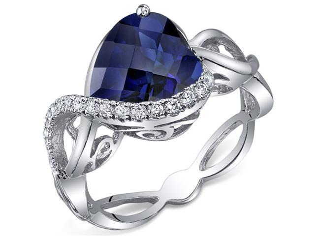 Swirl Design 4.00 Carats Heart Shape Blue Sapphire Ring in Sterling Silver Size 7, Available Sizes 5 to 9