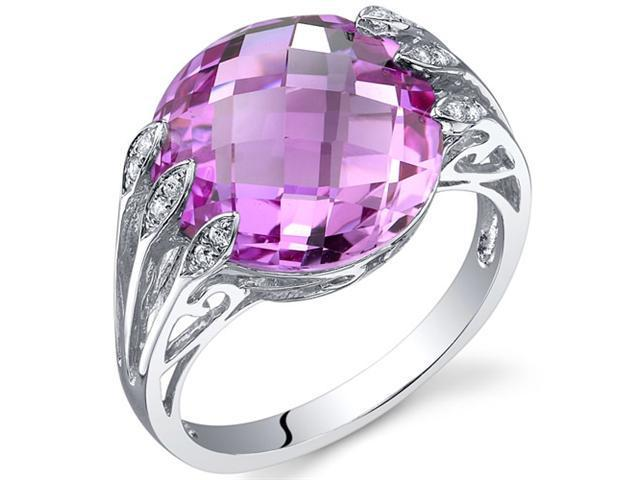 Intricate 7.00 Carats Double Checkerboard Cut Pink Sapphire Ring in Sterling Silver Size 6, Available Sizes 5 to 9