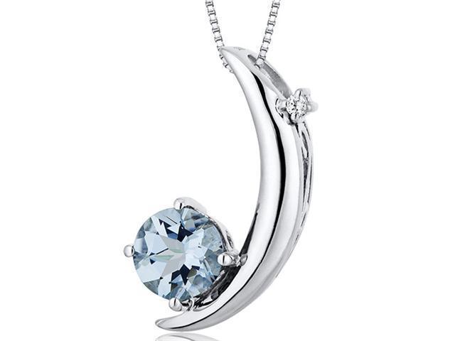 Crescent Moon Design 1.00 carats Round Checkerboard Cut Sterling Silver Aquamarine Pendant