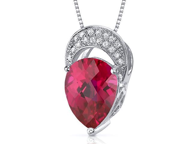Elegant Tear Drop 3.00 carats Pear shape Sterling Silver Ruby Pendant