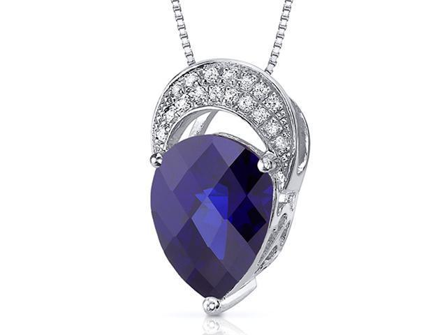 Elegant Tear Drop 3.00 carats Pear shape Sterling Silver Blue Sapphire Pendant