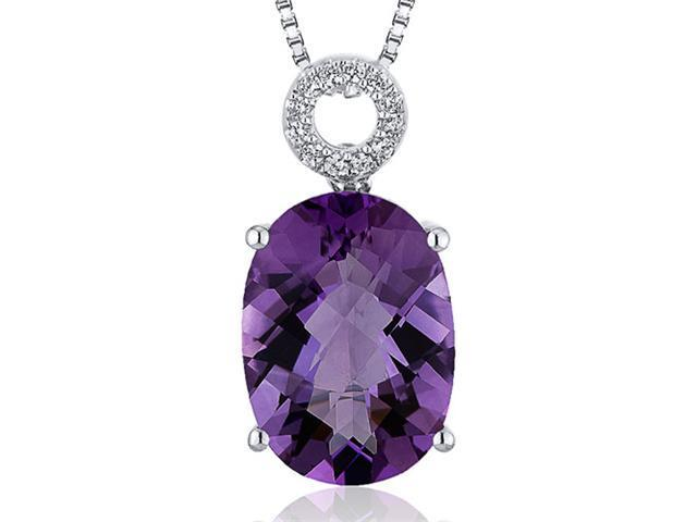 Opulent 5.00 carats Oval Checkerboard Cut Sterling Silver Amethyst Pendant