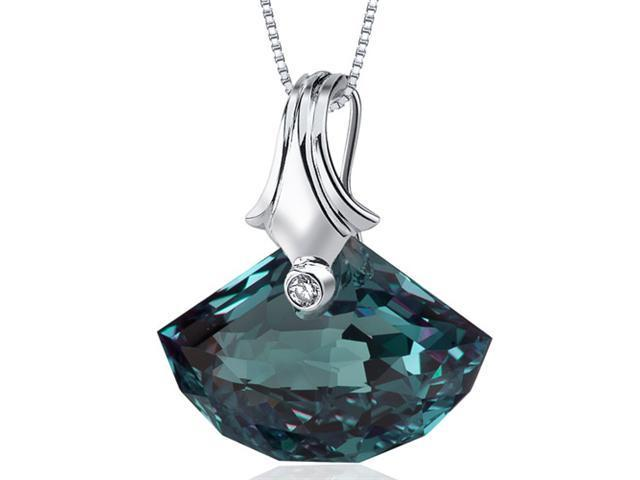 Spectacular Shell Cut 21.00 ct Alexandrite Necklace in Sterling Silver