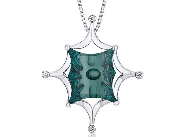 Butterfly Cut Buff Top Large 13.00 carats Sterling Silver Green Spinel Pendant