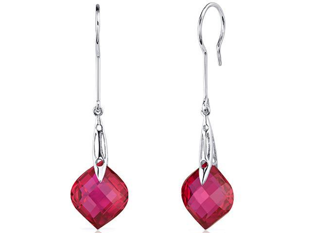 Onion Cut 19.00 Carats Ruby Dangle Earrings in Sterling Silver Rhodium Finish
