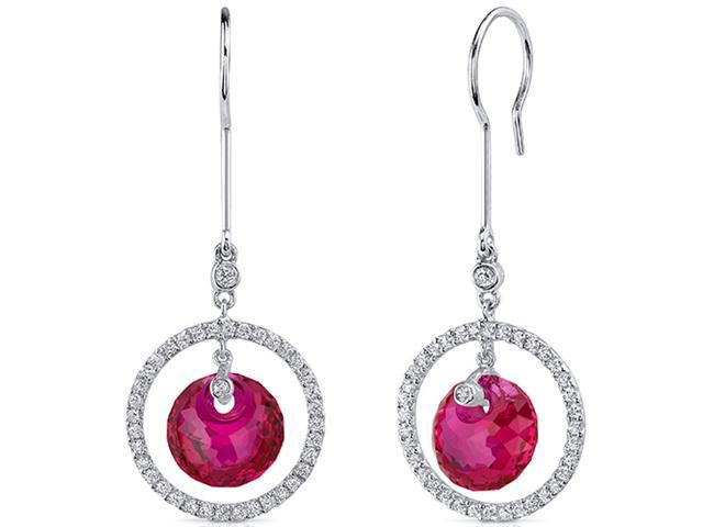 Circle of Life 12.00 Carats Ruby Spherical Cut Dangle Earrings in Sterling Silver Rhodium Finish