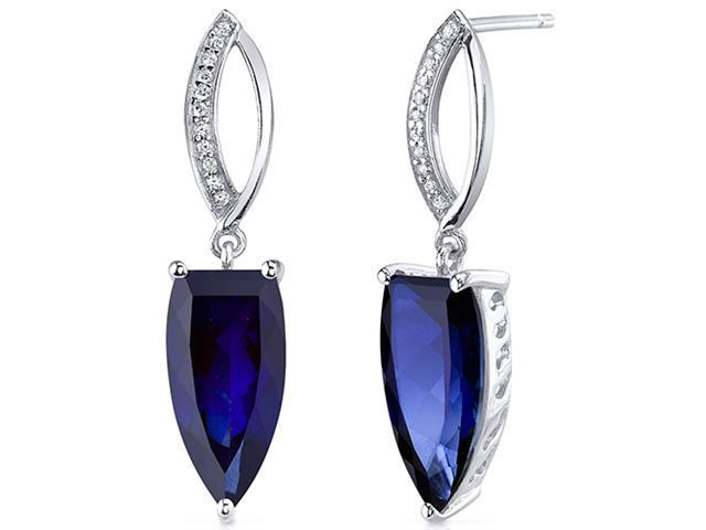 Half Marquise Cut 8.00 Carats Blue Sapphire Earrings in Sterling Silver Rhodium Finish
