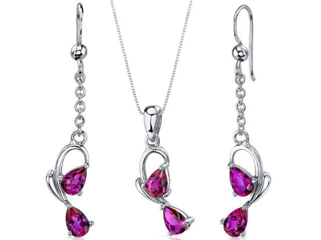 Intricate 2 Stone Design 1.50 carats Sterling Silver with Rhodium Finish Ruby Pendant Earrings Set