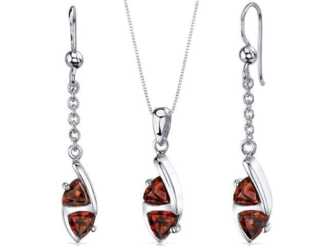 Refined 3.00 carats Trillion Cut Sterling Silver with Rhodium Finish Garnet Pendant Earrings Set