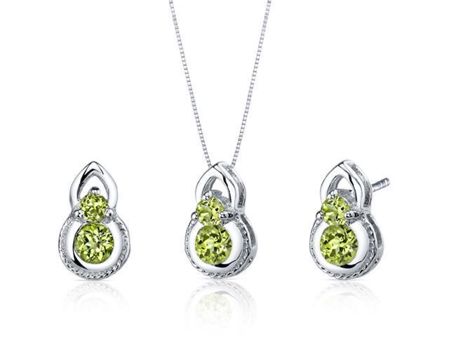 Dainty 2 Stone 1.50 carats Round Cut Sterling Silver with Rhodium Finish Peridot Pendant Earrings Set