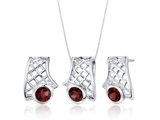Exotic Design 2.25 carats Round Cut Sterling Silver with Rhodium Finish Garnet Pendant Earrings Set