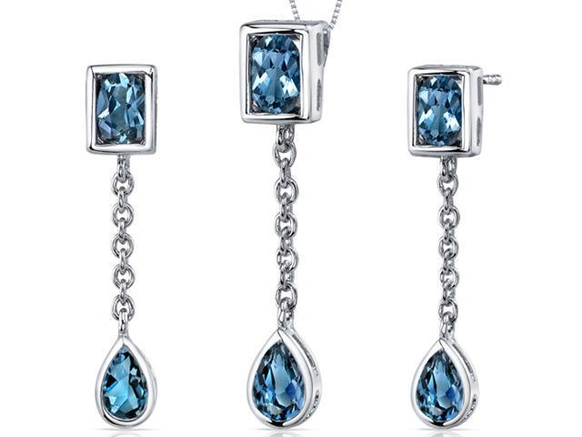 Dangling Dazzle 3.00 carats Oval and Pear Shape Sterling Silver with Rhodium Finish London Blue Topaz Pendant Earrings Set
