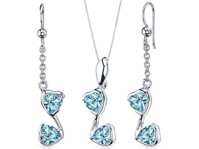 Cupid Duet 3.00 carats Heart Shape Sterling Silver with Rhodium Finish Swiss Blue Topaz Pendant Earrings Set