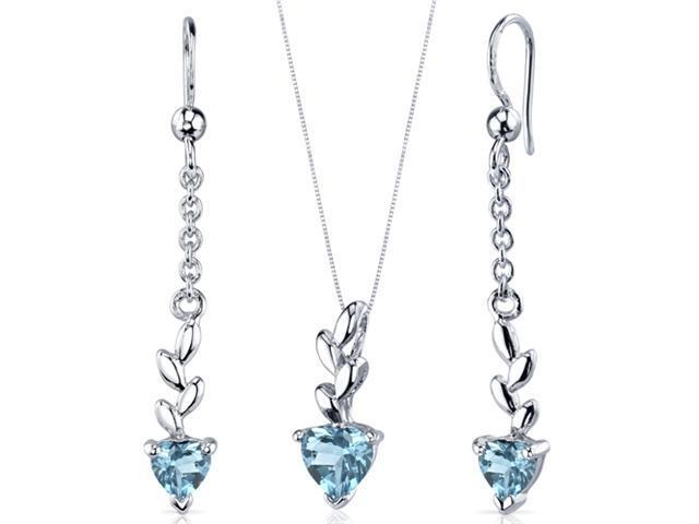 Dangling 2.00 carats Heart Shape Sterling Silver with Rhodium Finish Swiss Blue Topaz Pendant Earrings Set