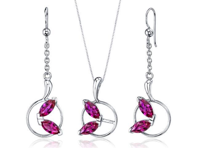 Ornate Circle Design 4.50 carats Sterling Silver with Rhodium Finish Ruby Pendant Earrings Set