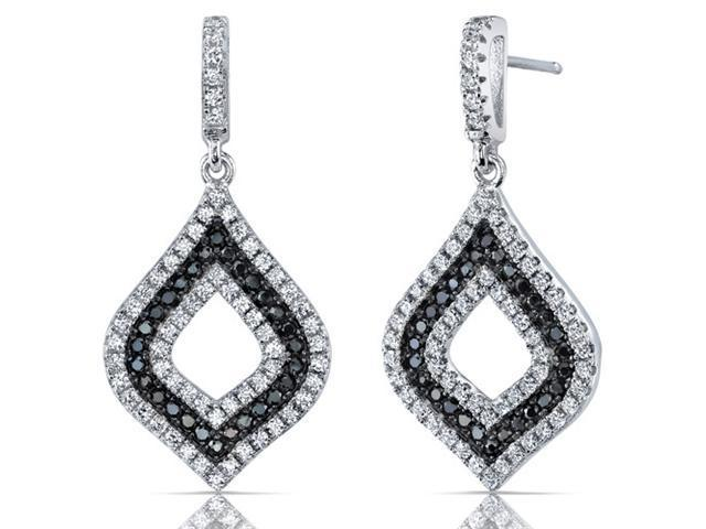 Classic Opulence Black and White CZ Sterling Silver Rhodium Finish Dangle Earrings