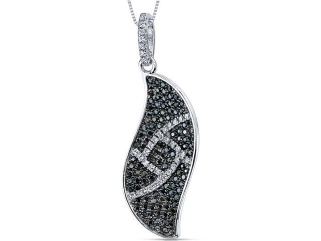 Elegant Wave Black and White CZ Sterling Silver Rhodium Finish Pendant with 18 inch Necklace