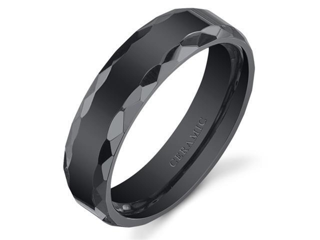 Faceted Edge 6mm Mens and Womens Black Ceramic Wedding Band Ring Available in Sizes 5 to 13
