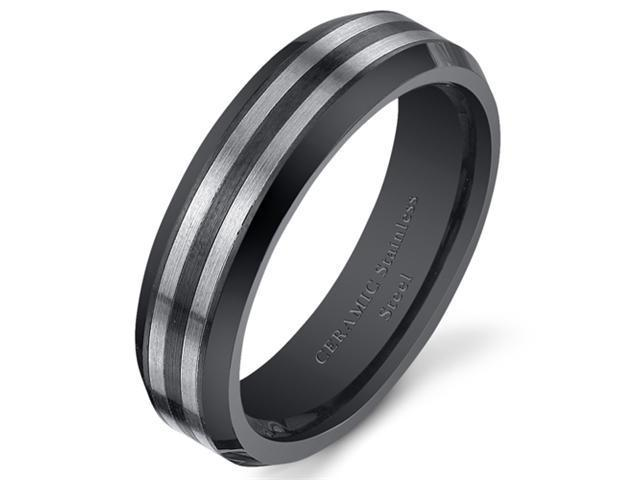 Black Striped 6mm Mens and Womens Stainless Steel Ceramic Wedding Band Ring Available in Sizes 5 to 13