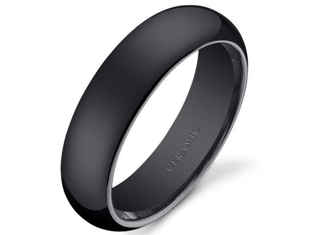 Classy 6mm Dome Style Mens and Womens Black Ceramic Wedding Band Ring Available in Sizes 5 to 13
