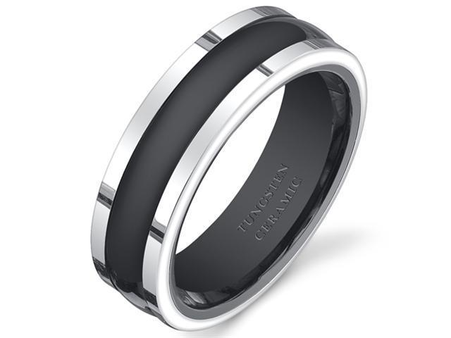 Two Tone Black Rounded Center 7mm Mens Tungsten Ceramic Wedding Band Ring Available in Sizes 8 to 13