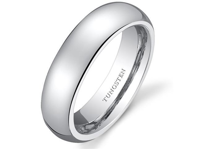 Classy 5mm Dome Style Womens White Tungsten Wedding Band Ring Available in Sizes 5 to 8