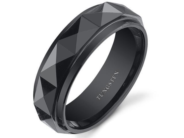 Faceted 7mm Mens Black Tungsten Wedding Band Ring Available in Sizes 8 to 13