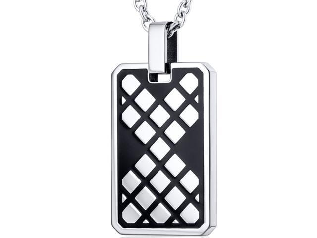 Modern Mosaic Design Black Stainless Steel Dog Tag Style Pendant With 22 inch Chain